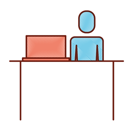 Man sitting while working on the laptop working illustration.