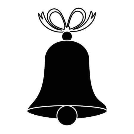 Christmas bell with bowntie illustration design. Ilustração
