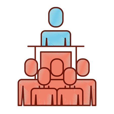 Business people while boss in podium illustration outline image.