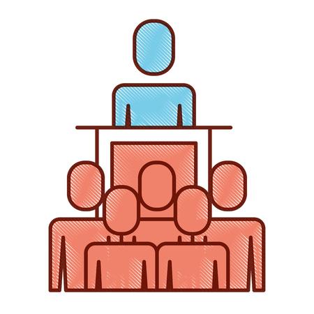Gente de negocios, mientras que el jefe en la imagen de esquema de ilustración de podio. Foto de archivo - 92336551