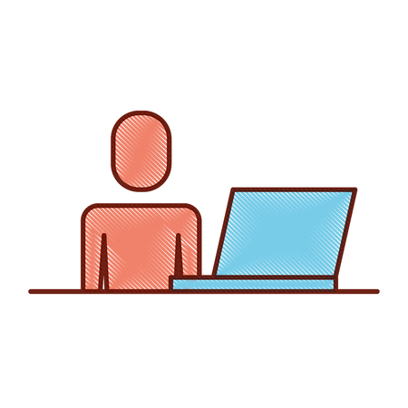 Man sitting desk while working on laptop illustration.