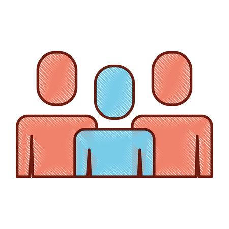 portrait business people teamwork partnership vector illustration