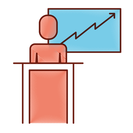 Man in podium presenting on board illustration. Illustration