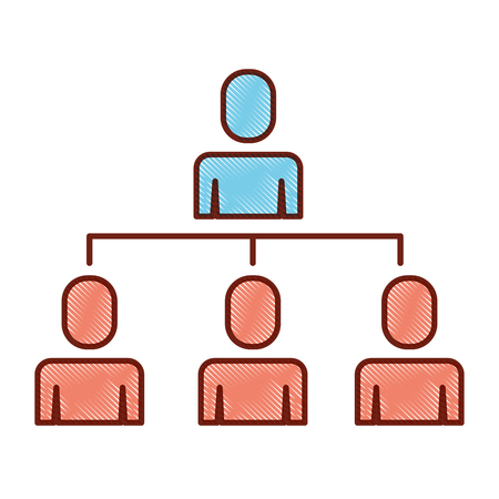 Business people organizational hierarchical scheme vector illustration.