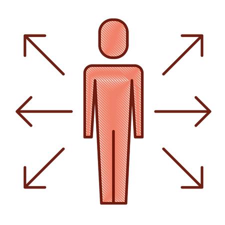Homme d'affaires options illustration vectorielle de choix direction flèches. Banque d'images - 92294597