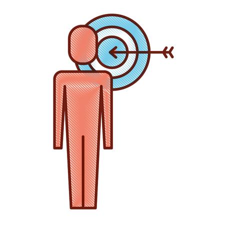 Businessman with target arrow solution marketing vector illustration.