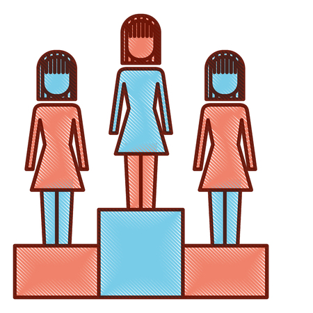 Business women in podium competition success vector illustration. 向量圖像
