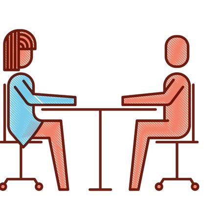 여자와 남자 비즈니스 앉아 통신 팀 벡터 일러스트 레이 션.