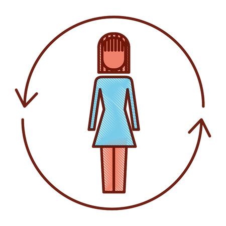 ソリューションベクトルのイラストの周りに矢印を持つビジネスウーマン。