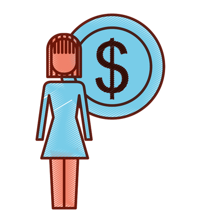 businesswoman dollar coin money symbol vector illustration pictogram