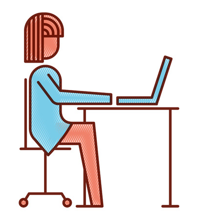 businesswoman sitting desk laptop working vector illustration