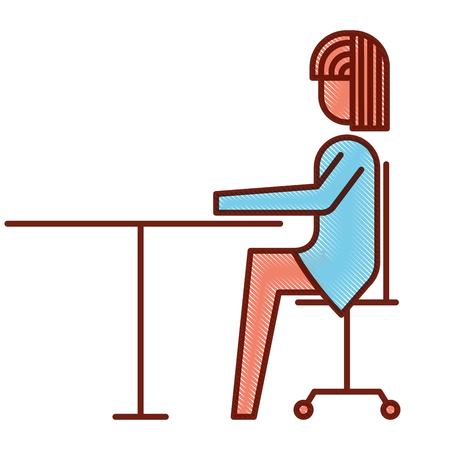businesswoman sitting in chair desk office work vector illustration
