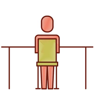 Geschäftsmann , der zurück Arbeit Büro Vektor-Illustration sitzt Standard-Bild - 92294890