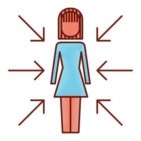 zakenvrouw permanent met pijlen belangenconflict vectorillustratie Stock Illustratie