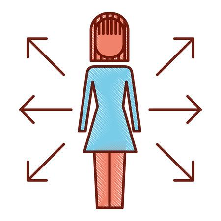 businesswoman options arrows direction choise vector illustration Banque d'images - 92298375
