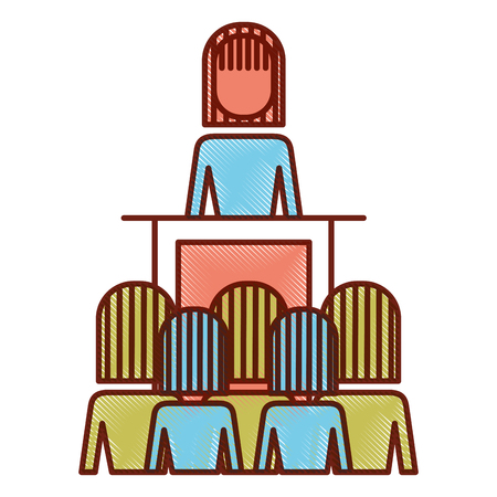 meeting business people boss podium presentation vector illustration outline image