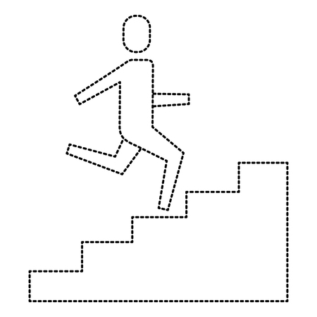 businessman climbing stairs up success business vector illustration