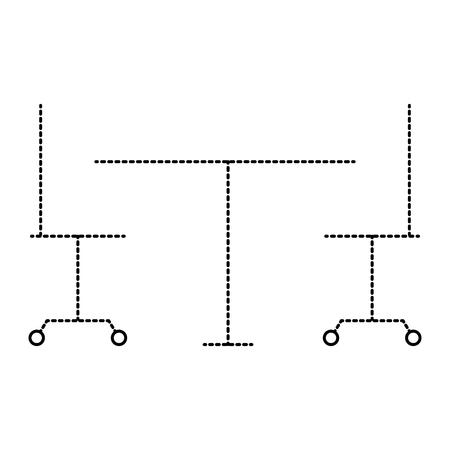 オフィスベクトルイラストのテーブルと椅子