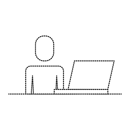 man working with laptop device illustration.