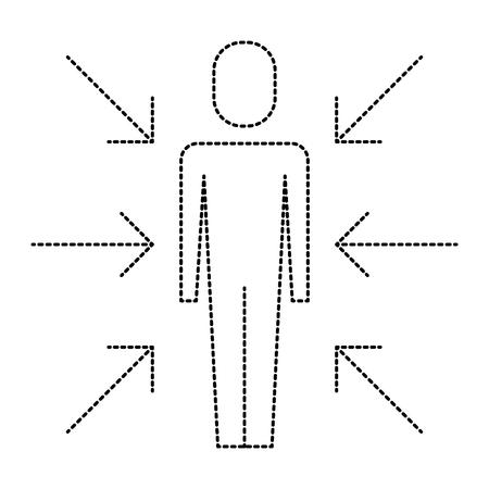 화살표 아이콘 그림 디자인으로 서있는 사람. 일러스트