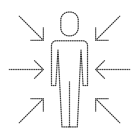 Man standing with arrows icon illustration design.