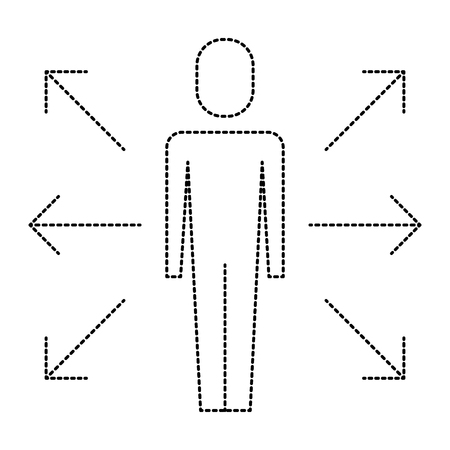 Man with options arrows direction icon illustration design.