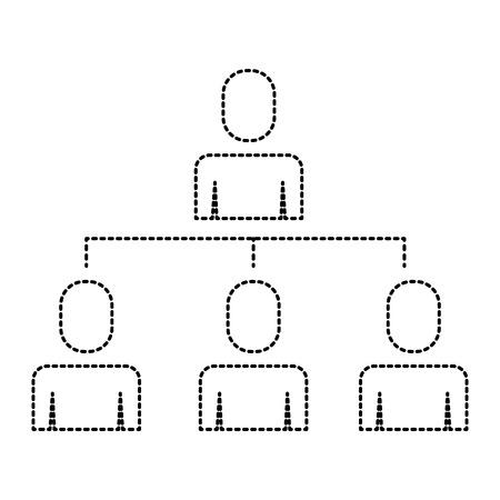 business people organizational hierarchical scheme vector illustration Illustration