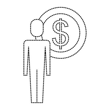 businessman dollar coin money symbol vector illustration