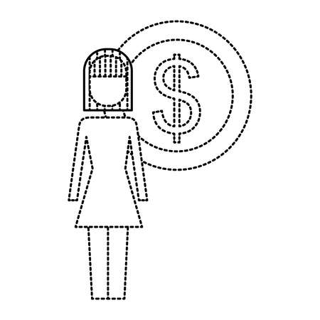 businesswoman dollar coin money symbol vector illustration outline image