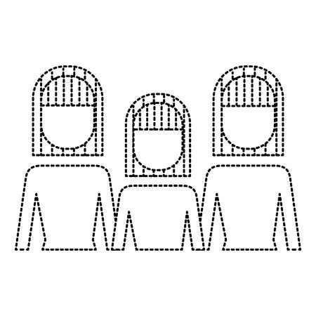 Portrait business people teamwork partnership vector illustration thin line design outline image Illustration