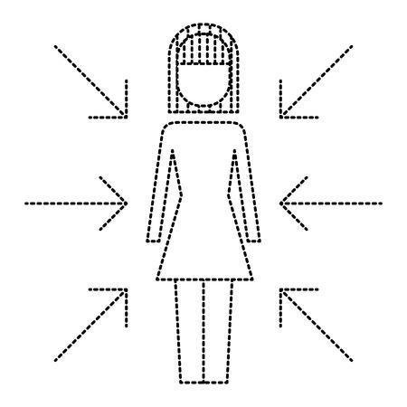Onderneemster die zich met de vectorillustratie van het pijlenconflict van belangen bevinden Stock Illustratie
