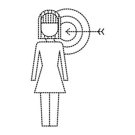 ターゲット矢印ソリューションマーケティングベクトルイラストを持つビジネスウーマン  イラスト・ベクター素材