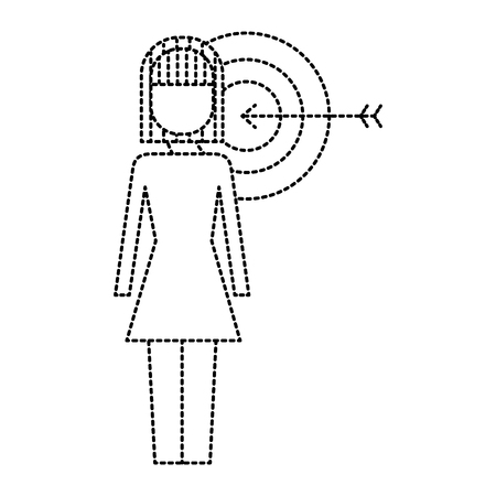 Businesswoman with target arrow solution marketing vector illustration Illustration