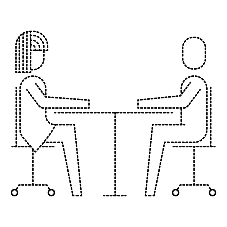 Woman and man business sitting communication team vector illustration