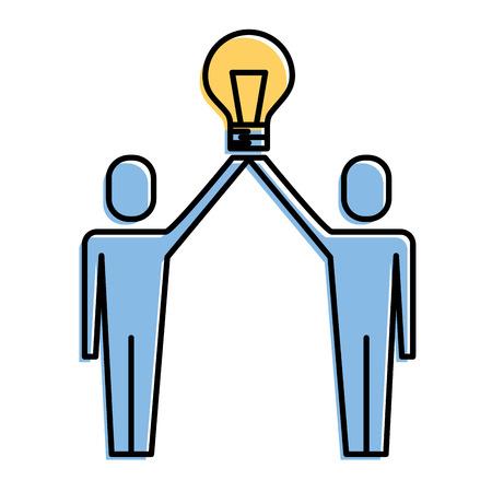Businessmen holding bulb idea solution innovation teamwork