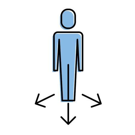 Businessman options arrows direction choice vector illustration 일러스트