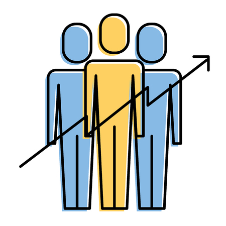 Teamwork people growth arrow profit financial vector illustration