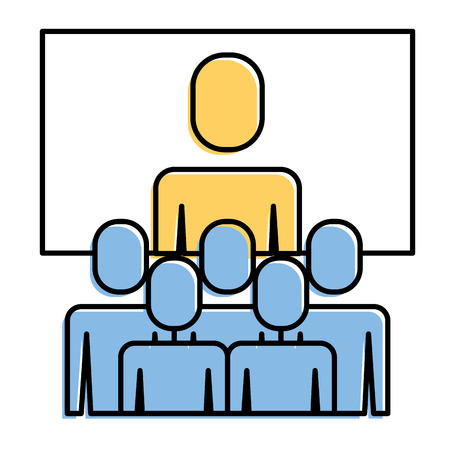 Business meeting manager group board vector illustration.