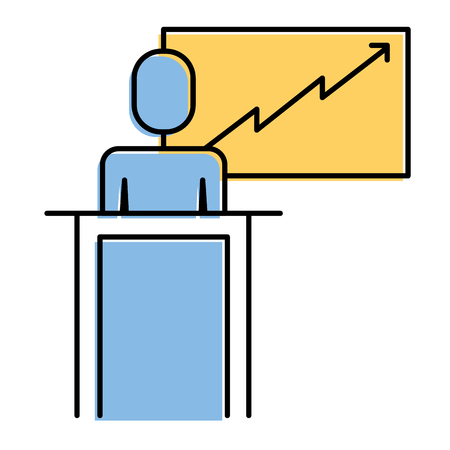 businessman podium presentation board diagram vector illustration