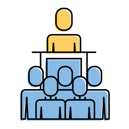 Vergadering mensen uit het bedrijfsleven baas podium presentatie vectorillustratie Stockfoto - 92295952