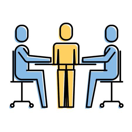 チームワークミーティングオフィスの人たち一緒ベクトルイラスト