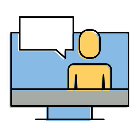 Man  on screen of computer icon illustration design.