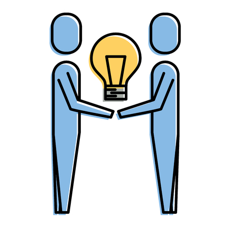 Two man holding bulb of idea illustration.