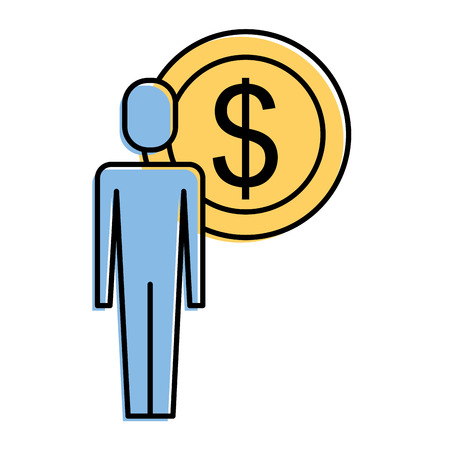 Businessman with dollar coin symbol vector illustration