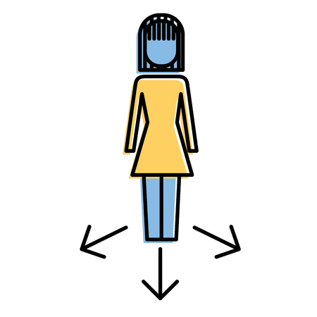 Businesswoman with option arrows vector illustration