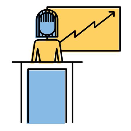 Zakenvrouw podium presentatie bord diagram vectorillustratie.