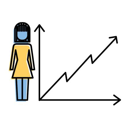 businesswoman with diagram arrow growth finance vector illustration 向量圖像
