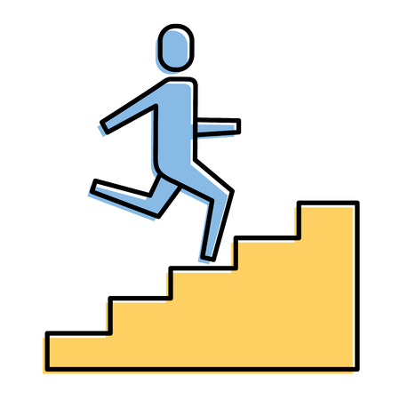 Businessman climbing stairs up success business vector illustration. Illustration