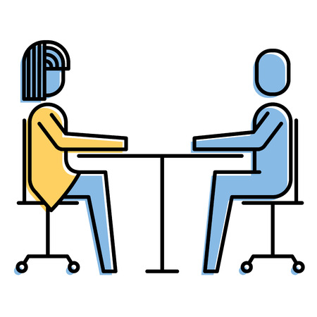 woman and man business sitting communication team vector illustration Stock Vector - 92291314