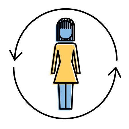 ソリューションベクトルのイラストの周りに矢印を持つビジネスウーマン  イラスト・ベクター素材